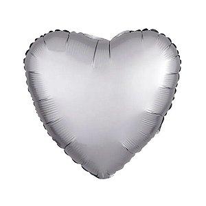 """Balão de Festa Metalizado 20"""" 50cm - Coração Cromado Platinum - 01 Unidade - Flexmetal - Rizzo Embalagens"""