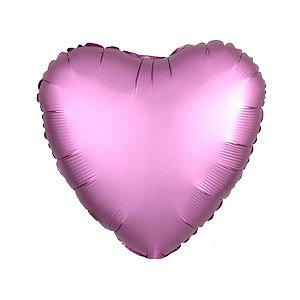 """Balão de Festa Metalizado 20"""" 50cm - Coração Cromado Pink Flamingo - 01 Unidade - Flexmetal - Rizzo Embalagens"""