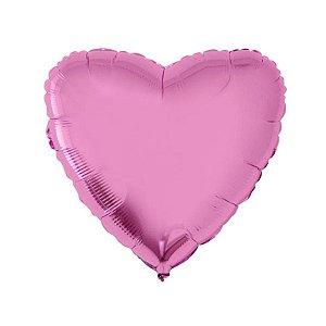 """Balão de Festa Metalizado 20"""" 50cm - Coração Rosa Metálico - 01 Unidade - Flexmetal - Rizzo Embalagens"""