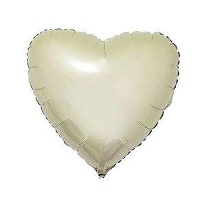 """Balão de Festa Metalizado 20"""" 50cm - Coração Vanilla - 01 Unidade - Flexmetal - Rizzo Embalagens"""