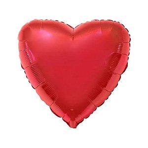 """Balão de Festa Metalizado 20"""" 50cm - Coração Vermelho - 01 Unidade - Flexmetal - Rizzo Embalagens"""