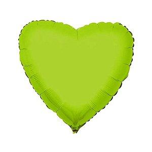 """Balão de Festa Metalizado 20"""" 50cm - Coração Verde Limão - 01 Unidade - Flexmetal - Rizzo Embalagens"""