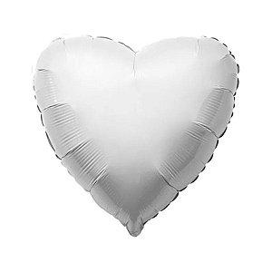"""Balão de Festa Metalizado 20"""" 50cm - Coração Branco - 01 Unidade - Flexmetal - Rizzo Embalagens"""