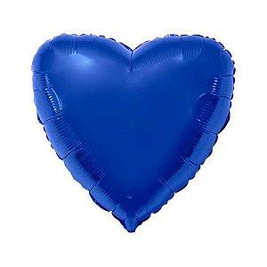 """Balão de Festa Metalizado 20"""" 50cm - Coração Azul - 01 Unidade - Flexmetal - Rizzo Embalagens"""
