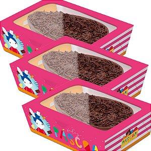 Caixa Practice para Meio Ovo Brilho de Páscoa Rosa - 06 unidades - Cromus Páscoa - Rizzo Embalagens