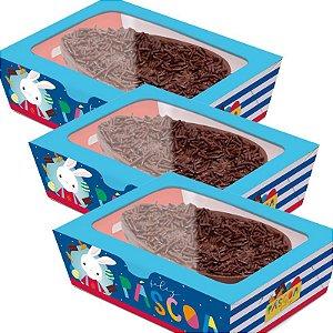 Caixa Practice para Meio Ovo Brilho de Páscoa Azul - 06 unidades - Cromus Páscoa - Rizzo Embalagens