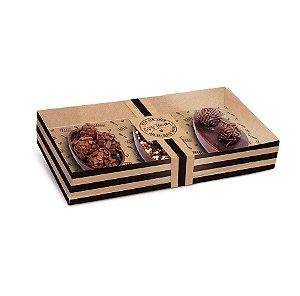 Caixa New Practice Três Meio Ovo Mini 50g 21,5x11x4cm Feito com Amor Kraft - 06 unidades - Cromus Páscoa - Rizzo Embalag