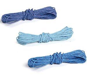 Kit Fios Decorativos de Papel Torcido Tons Azul - 2mm x 10 metros - 3 unidades - Cromus Páscoa - Rizzo Embalagens