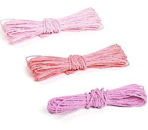 Kit Fios Decorativos de Papel Torcido Tons Rosa - 2mm x 10 metros - 3 unidades - Cromus Páscoa - Rizzo Embalagens