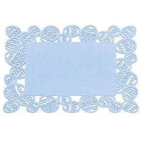 Jogo Americano Retangular em Feltro Borda Ovo 30cm - Azul - Mesa de Páscoa - Cromus Páscoa - Rizzo Embalagens