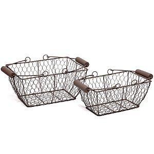 Kit Cesta de Arame 02 unidades - Cromus Páscoa - Rizzo Embalagens