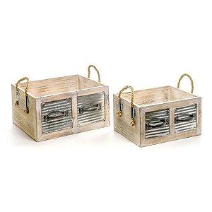 Caixote Madeira Crua com Metal Jogo com 2 peças - 1 unidade - Cromus