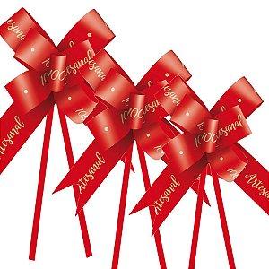 Laço Fácil 100% Artesanal Vermelho - 10 unidades - Cromus Páscoa - Rizzo Embalagens