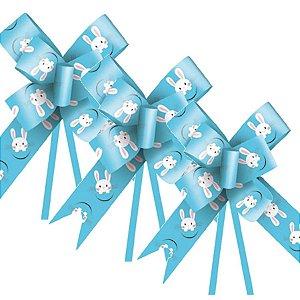 Laço Fácil Coelho Fantasia Azul - 10 unidades - Cromus Páscoa - Rizzo Embalagens