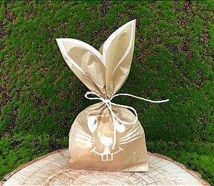 Saquinho de Papel Coelho Kraft/Branco 10 un - Decora Doces - Rizzo Embalagens