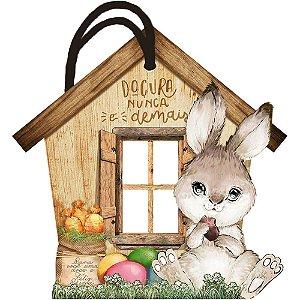 Tag de Páscoa Madeira Casa Coelho DHT5P-001 - LitoArte - Rizzo Embalagens