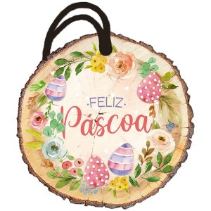 Tag de Páscoa Madeira Feliz Páscoa DHT8P-001 - LitoArte - Rizzo Embalagens