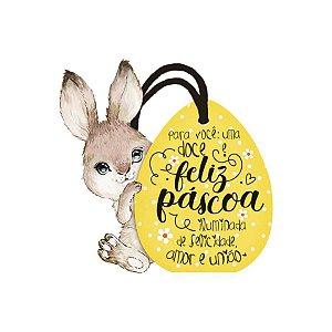 Tag de Páscoa Madeira Coelho Ovinho DHT2-147 - LitoArte - Rizzo Embalagens