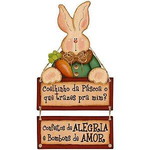 Placa Decorativa em MDF - Coelhinho da Páscoa- DHPMP-011 - LitoArte Rizzo Embalagens