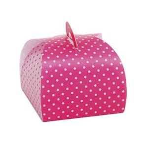Caixa Bem Casado Poá Pink/Branco - 6,5x6,5x5,5cm - 24 unidades - Cromus Festas