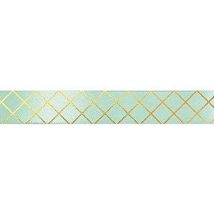 Fita de Cetim Decorada Hot Stamping Elegance Verde Mint 22mm - 10 metros - 1 unidade - Cromus