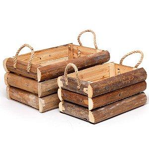 Jogo de Caixotes Quadrados em Madeira - 02 unidades - Cromus Páscoa - Rizzo Embalagens