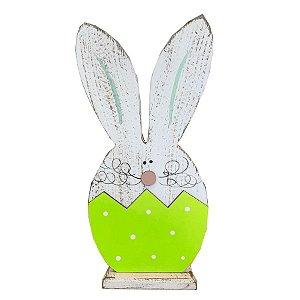 Coelho Ovo Verde de MDF Rústico Branco G 10389 - 01 unidade - Páscoa - Rizzo Embalagens