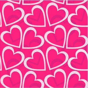 Saco Presente 30x44 - Corações Pink - 50 unidades - Regina - Rizzo Embalagens