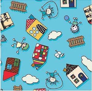 Saco Presente 45x60 - Casas Kids - 25 unidades - Regina - Rizzo Embalagens