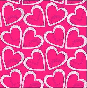 Saco Presente 15x22 - Corações Pink - 50 unidades - Regina - Rizzo Embalagens