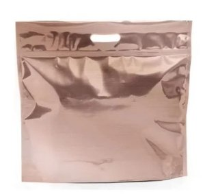 Sacola Metalizada com Zip P 32x40x5cm Rose Gold - 01 unidade - Cromus - Rizzo Embalagens