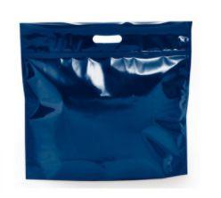 Sacola Metalizada com Zip P 46x43x5cm Azul - 01 unidade - Cromus - Rizzo Embalagens