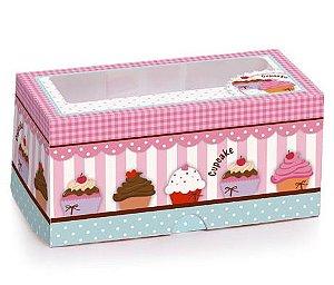 Caixa 4 Cupcake - 16x16x7,5cm - 10 unidades - Cromus - Rizzo Confeitaria