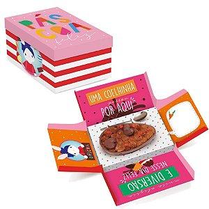 Caixa Surpresa para Meio Ovo 350g - Brilho de Páscoa Rosa 17,5x13,5x10cm - 10 unidades - Cromus Páscoa - Rizzo Embalag