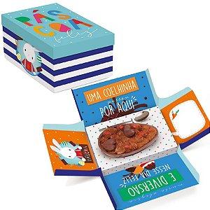 Caixa Surpresa para Meio Ovo 350g - Brilho de Páscoa Azul 17,5x13,5x10cm - 10 unidades - Cromus Páscoa - Rizzo Embalag