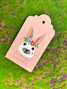 Tag Decorativa Rosa Feliz Páscoa Coelha Boca Cinza - 05 unidades - Rizzo Embalagens