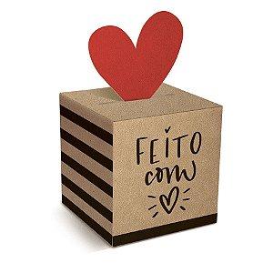 Caixa Pop Up Kraft Feito com Amor P 7x7x7cm - 10 unidades - Cromus Páscoa - Rizzo Embalagens