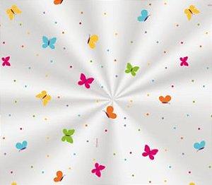 Saco Transparente Decorado Borboletas Colors - 15x29cm - 100 unidades - Cromus - Rizzo Embalagens