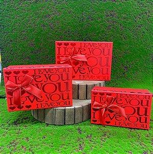 Kit Caixa Rígida Vermelha c/ Laço - 03 Unidades - Rizzo