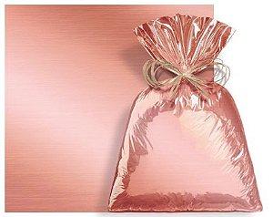 Saco Presente Metalizado Rose Gold 50x70cm - 25 unidades - Cromus - Rizzo Embalagens