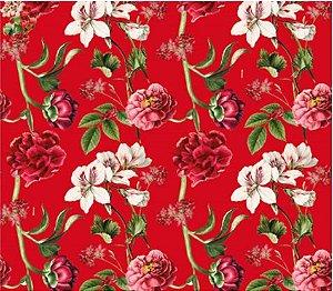 Saco Presente 25x37cm Botânico Vermelho - 50 unidades - Cromus - Rizzo Embalagens