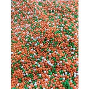 Confeito de Açúcar - Mini Pérolas Verde Laranja e Branco - Abelha Confeiteira - Rizzo Embalagens