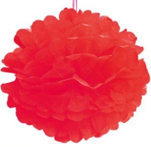 Pom Pom Vermelho - 30cm - 2 unidades - Cromus - Rizzo Festas