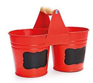 Balde Decorativo Vermelho Metal - 01 Unidade - Cromus - Rizzo Embalagens