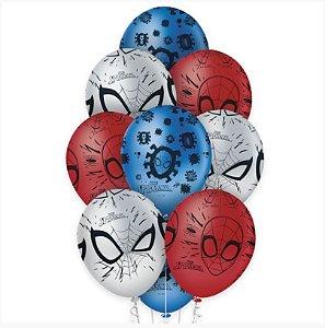 """Balão de Festa Decorado Premium Spider Man 12"""" - 10 unidades - Regina - Rizzo Embalagens"""