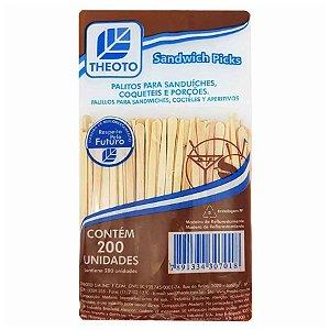 Palitos para Sanduíche Madeira - Pequeno - 200 unidades - Theoto - Rizzo Embalagens