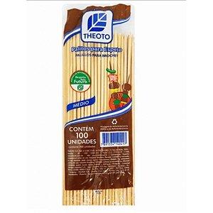 Palitos de Madeira para Espetos - 100 unidades -  Médio - Theoto - Rizzo Embalagens