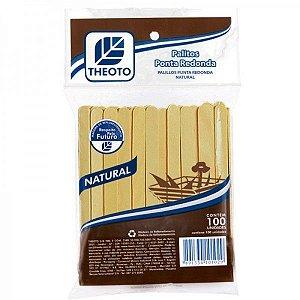 Palitos de Madeira Ponta Arredondada - 100 unidades - Theoto - Rizzo Embalagens