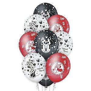 """Balão de Festa Red Minnie 12"""" - 10 unidades - Regina - Rizzo Embalagens"""