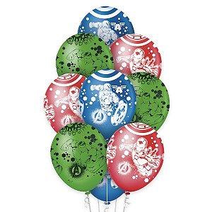 """Balão de Festa Decorado Avengers 12"""" - 10 unidades - Regina - Rizzo Embalagens"""